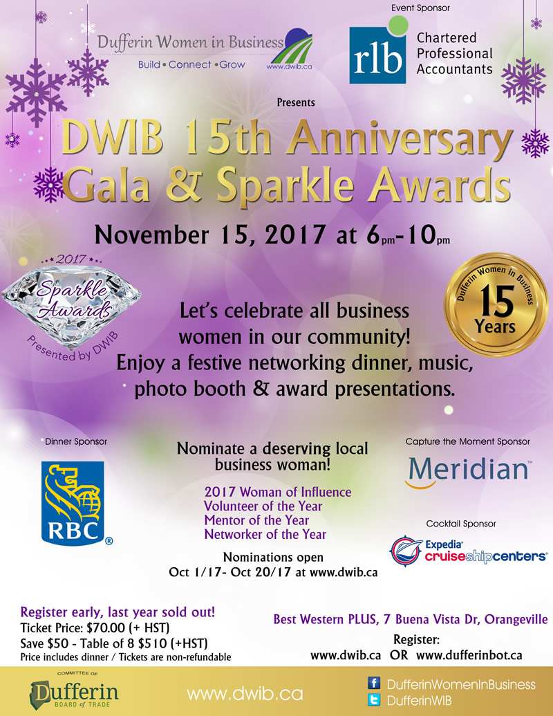 Sparkle Award Registration   DWIB-Women\'s Networking in Dufferin