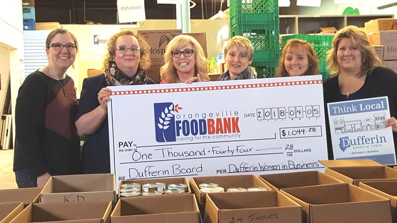 DUFFERIN WOMEN IN BUSINESS RAISES OVER $1000 FOR THE ORANGEVILLE FOOD BANK